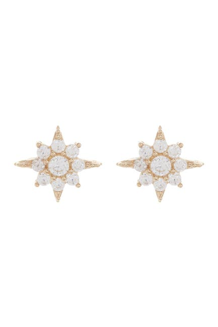 Image of Candela 10K Yellow Gold CZ North Star Stud Earrings