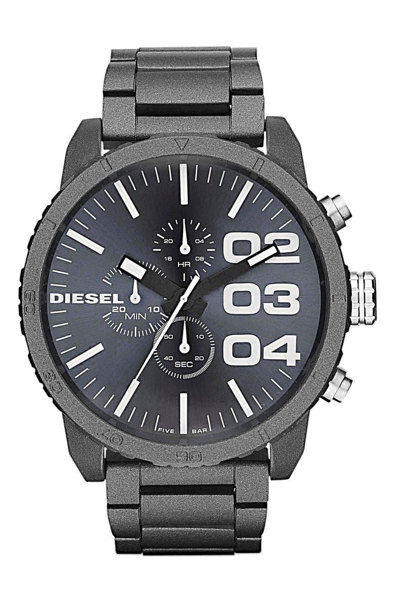 DIESEL<SUP>®</SUP> 'Double Down' Large Chronograph Bracelet Watch, 52mm, Main, color, 400