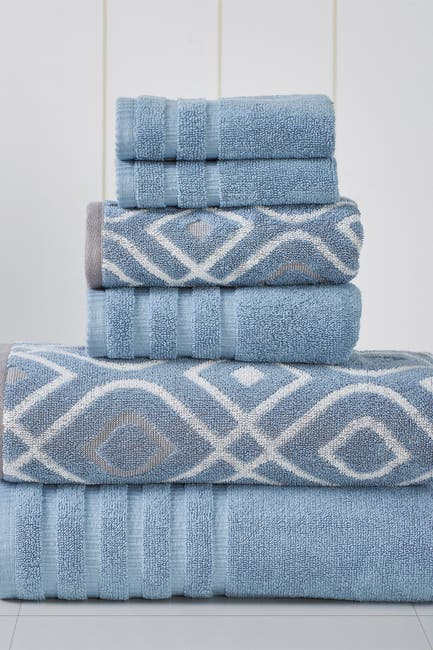 Image of Modern Threads Yard Dyed Towel 6-Piece Set - Oxford Blue