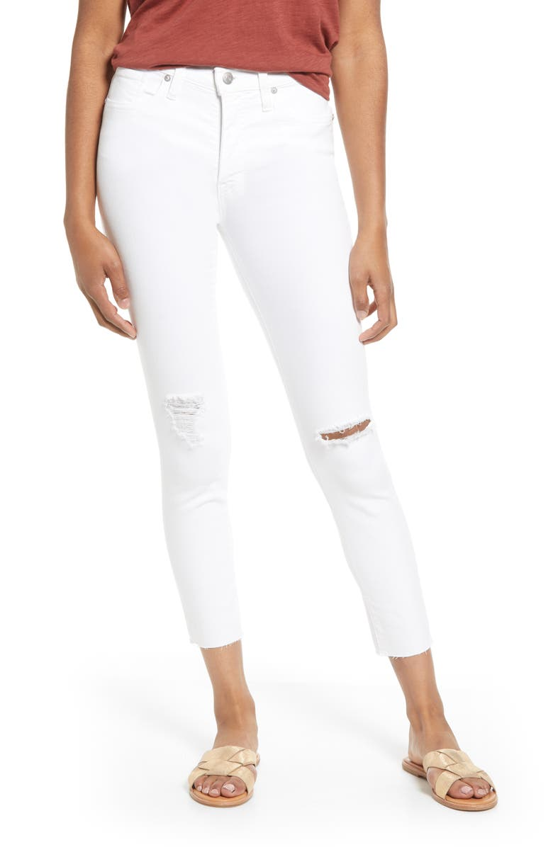 MADEWELL 9-Inch Ripped High Waist Crop Skinny Jeans, Main, color, PURE WHITE