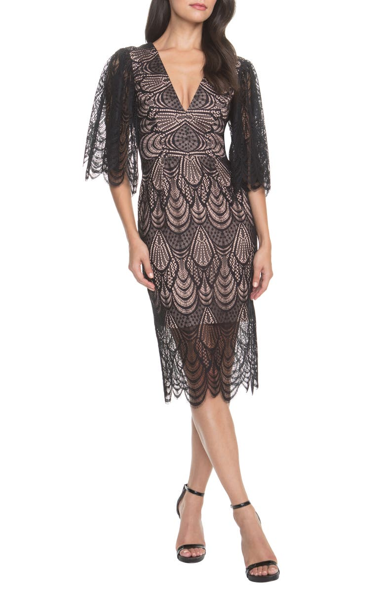 DRESS THE POPULATION Mia Angel Sleeve Lace Dress, Main, color, 001