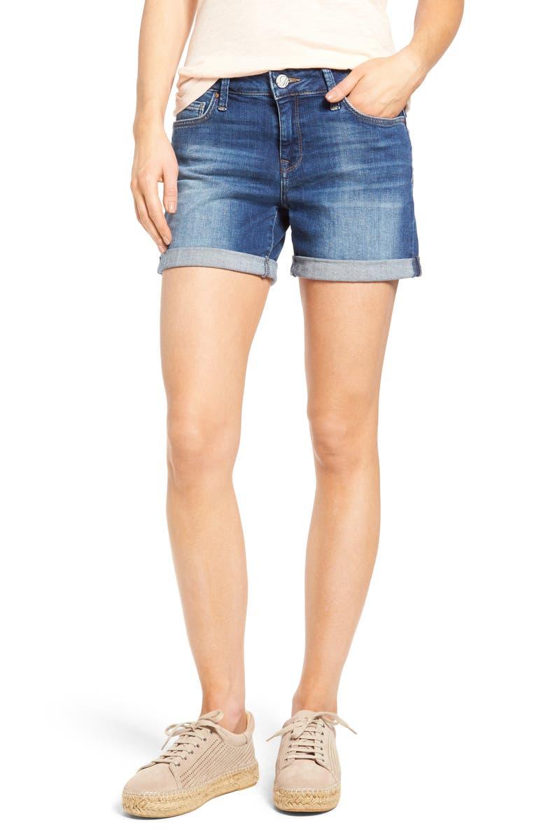 MAVI JEANS Marla Roll Cuff Denim Shorts, Main, color, MID