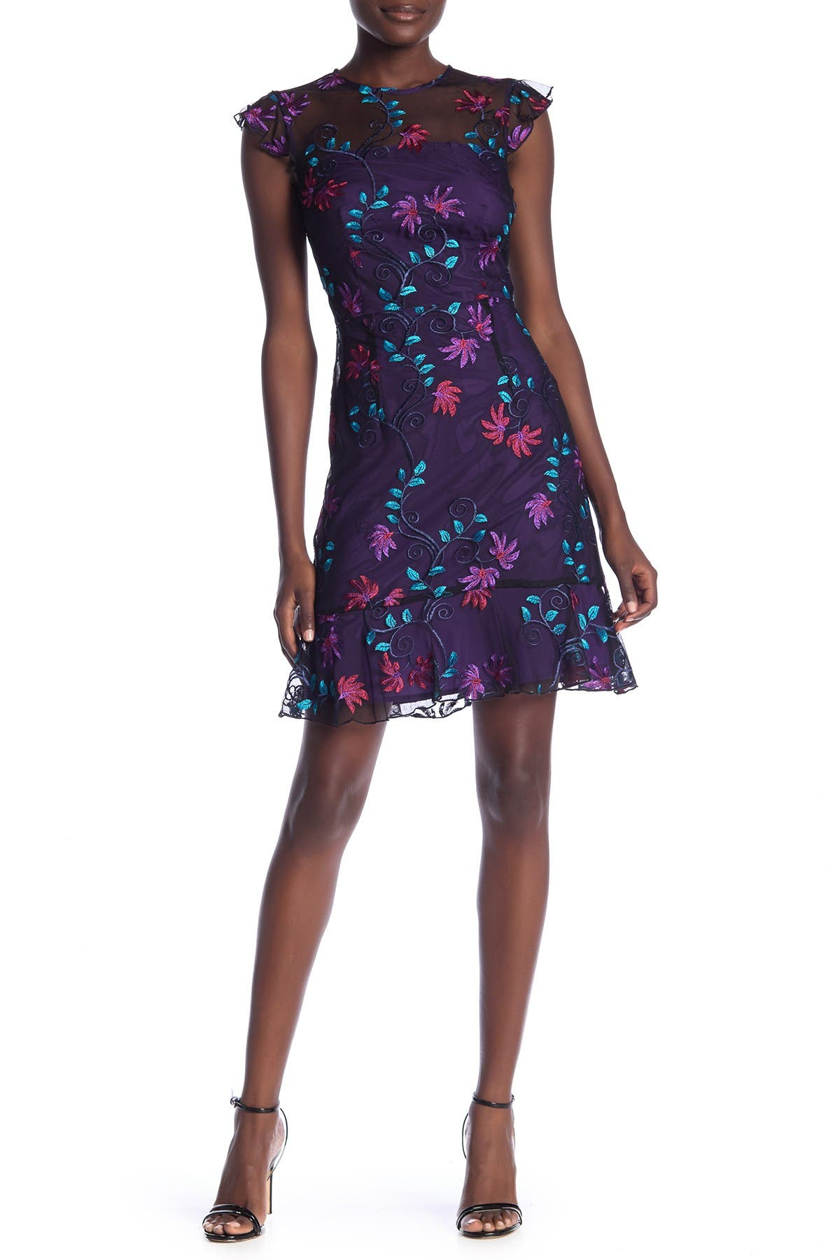 Image of Donna Morgan Embroidered Floral Cap Sleeve Dress
