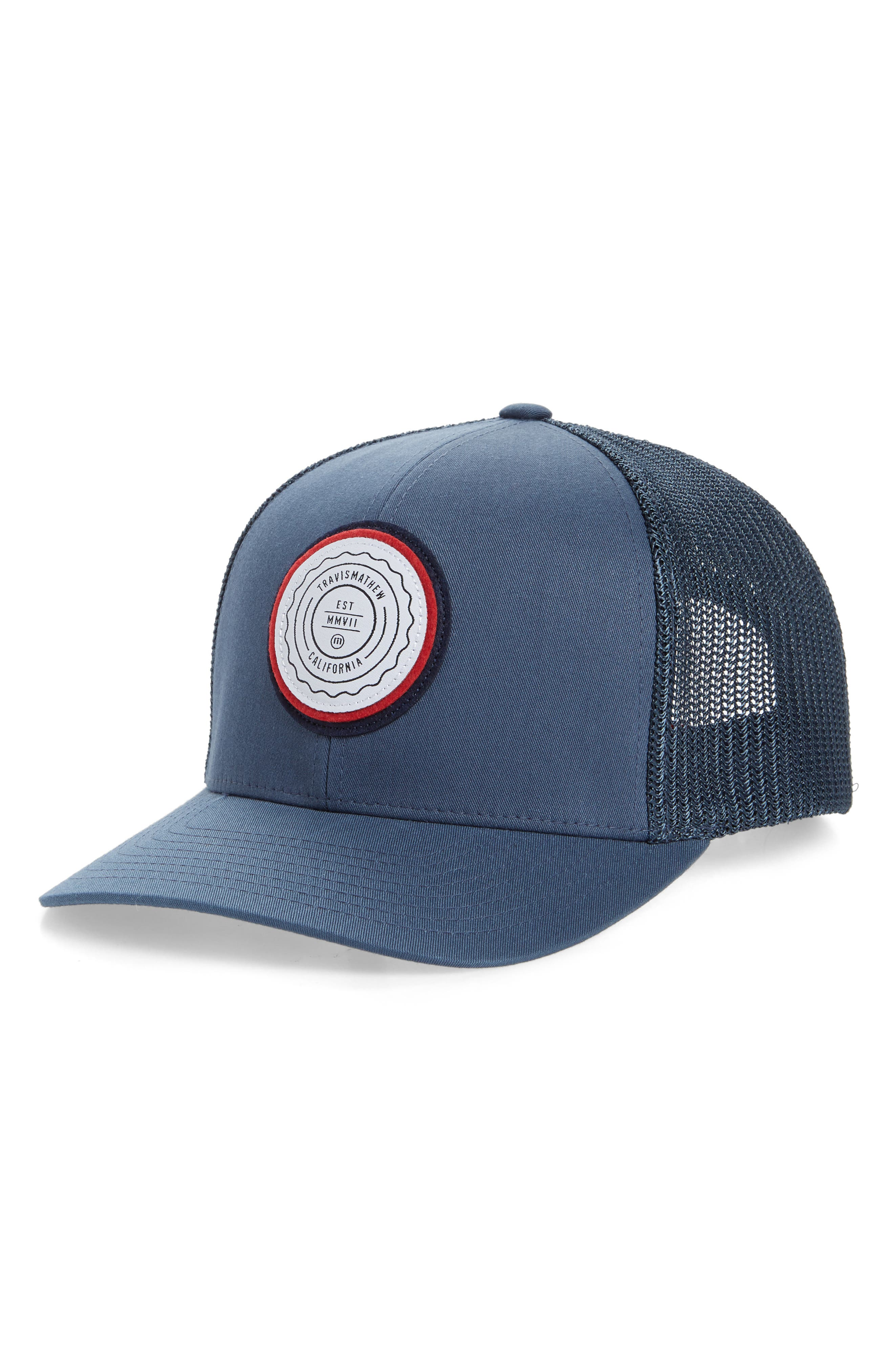 A bold brand patch stamps a classic trucker hat designed for versatile appeal. Style Name: Travismathew The Patch Trucker Hat. Style Number: 5967705. Available in stores.
