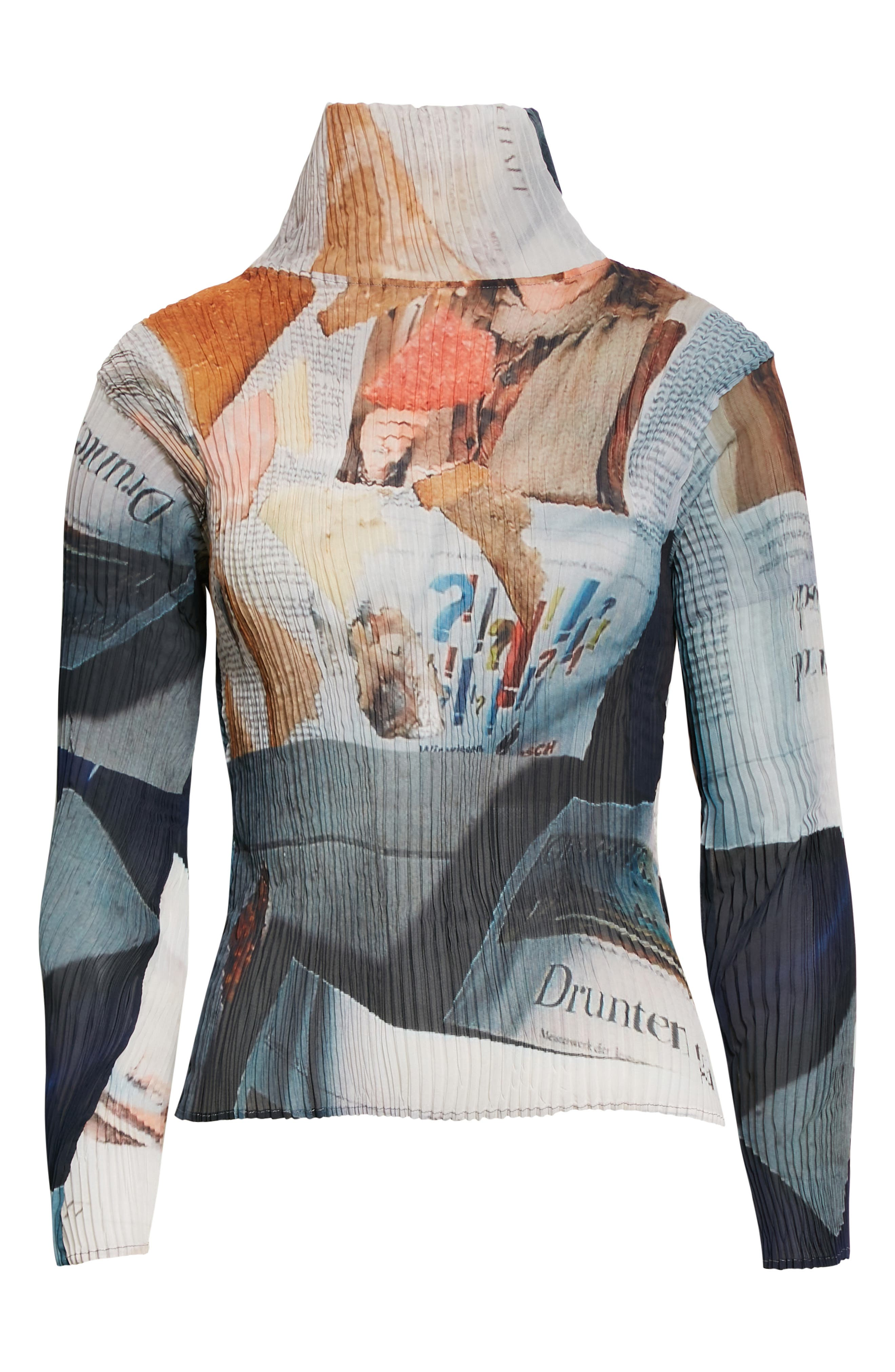 Otto Print Plisse Pleated Turtleneck Top