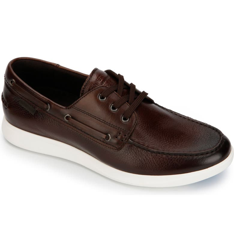 KENNETH COLE NEW YORK Rocketpod Boat Shoe, Main, color, BROWN TUMBLED LEATHER