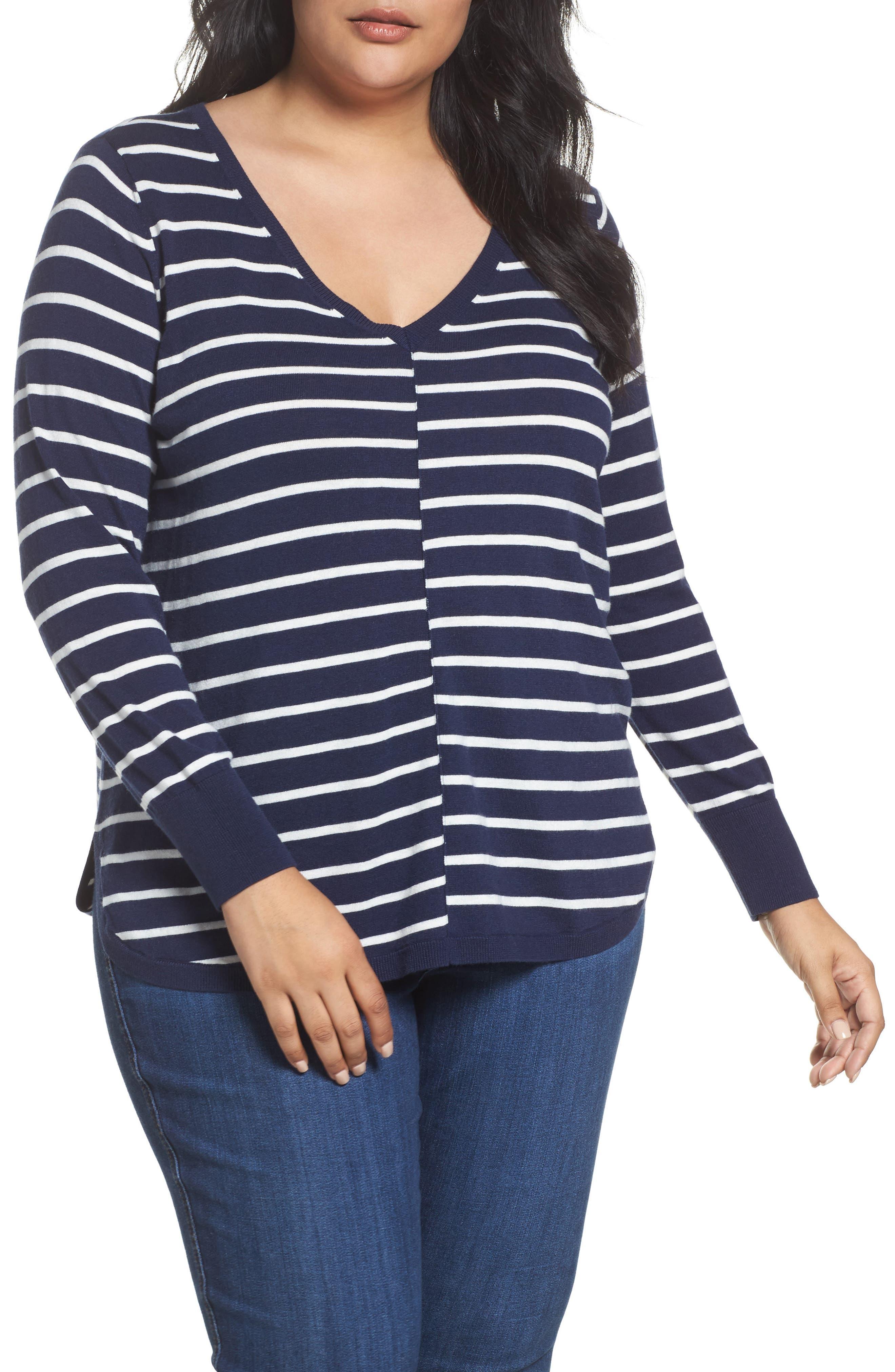 Plus Size Caslon Marled V-Neck Sweater, Blue