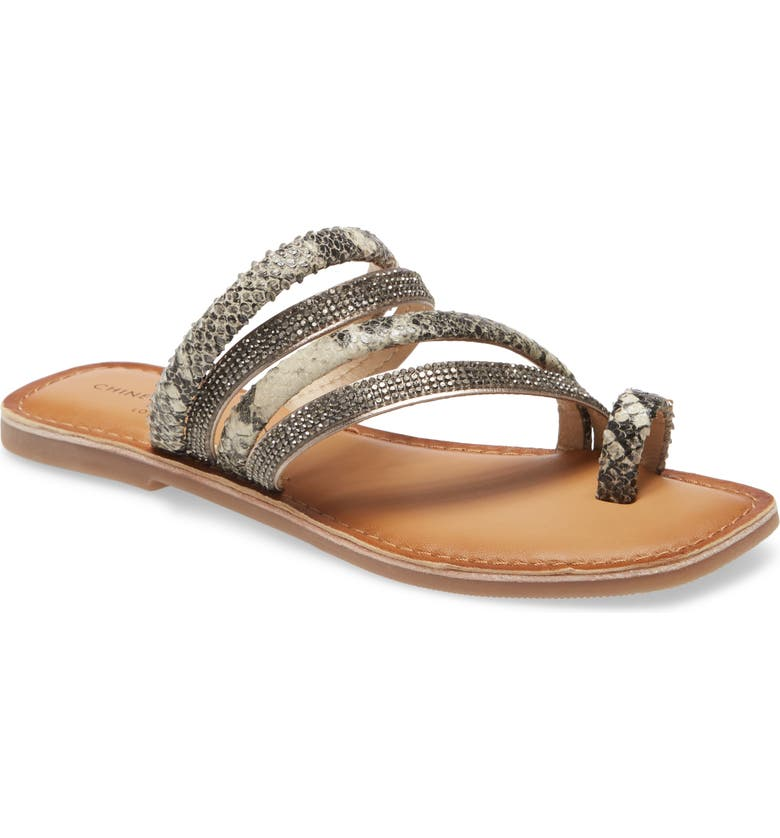 CHINESE LAUNDRY Solar Sandal, Main, color, BLACK/ WHITE LEATHER