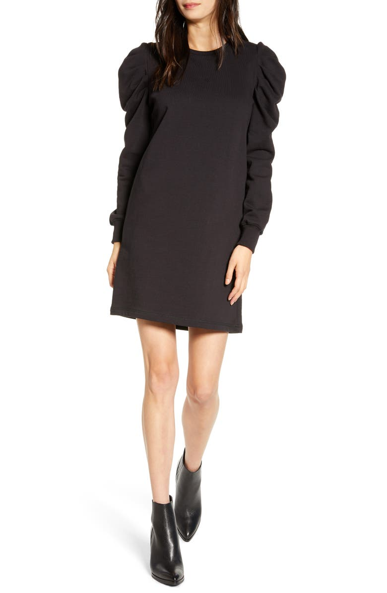 REBECCA MINKOFF Janine Long Sleeve Shift Dress, Main, color, 001