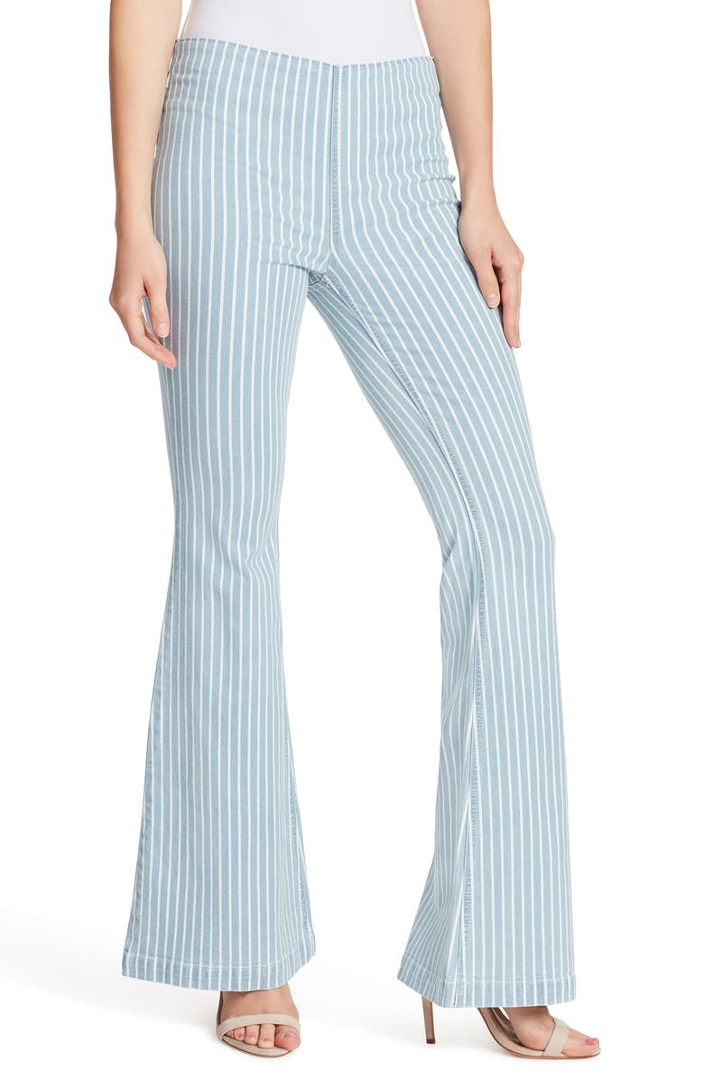 ELLA MOSS High Waist Pinstripe Pull-On Flare Jeans, Main, color, BLUE JAY