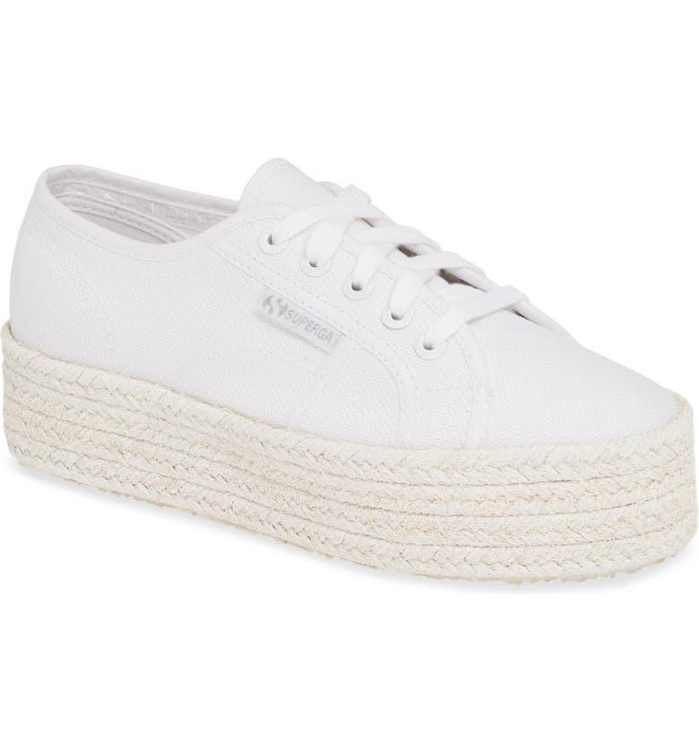 SUPERGA Cotcoloropew Espadrille Sneaker, Main, color, WHITE TONAL