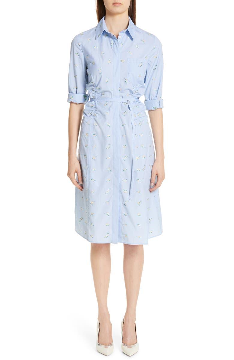 ALTUZARRA Floral & Gingham Poplin Shirtdress, Main, color, 400