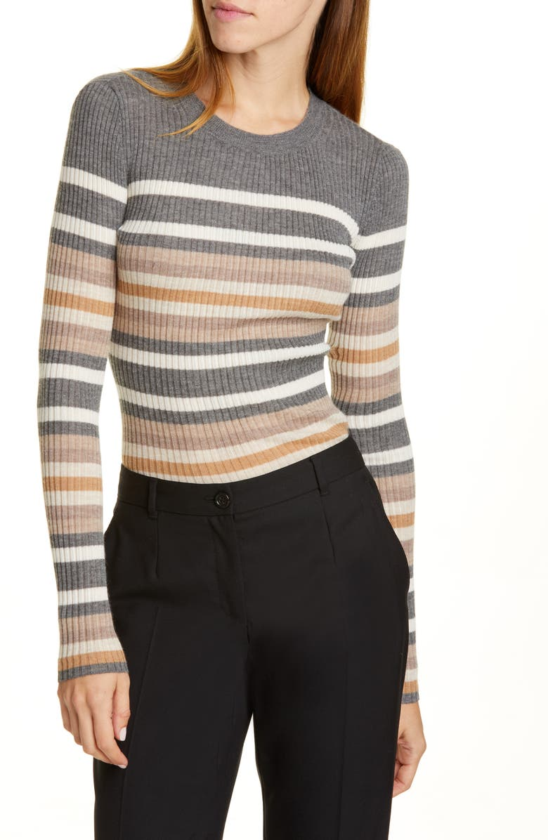 THEORY Stripe Ribbed Crewneck Cashmere Sweater, Main, color, MEDIUM HEATHER GREY MULTI