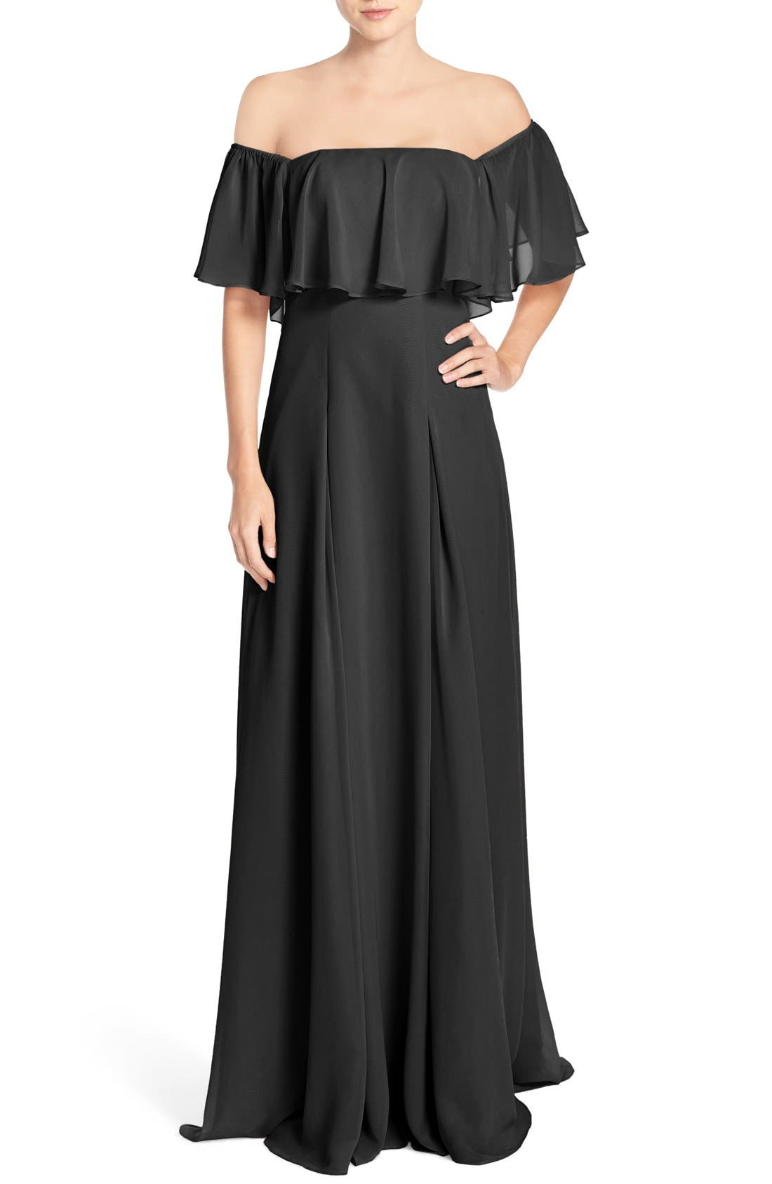 ,                             Off the Shoulder Chiffon Gown,                             Main thumbnail 2, color,                             001