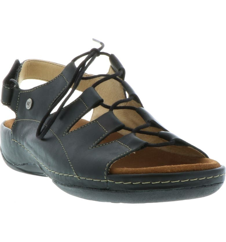 WOLKY Kite Lace-Up Sandal, Main, color, BLACK LEATHER