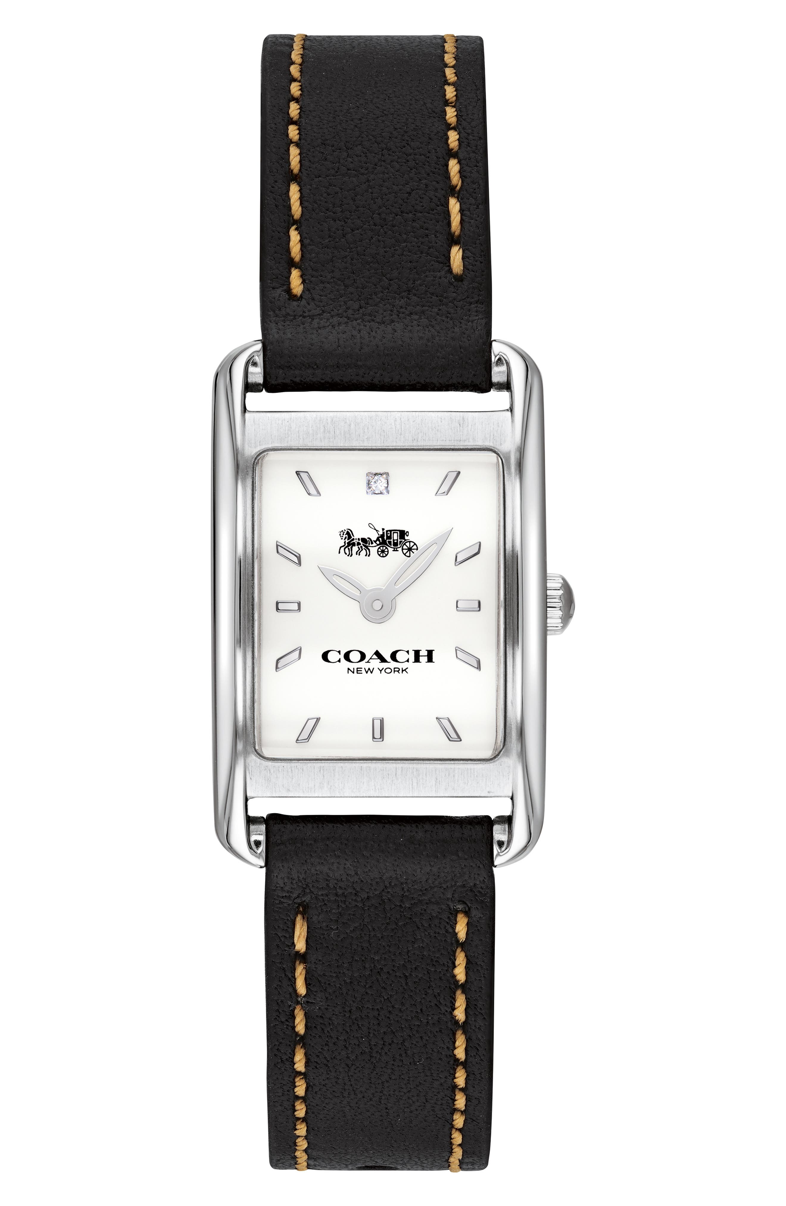 Allie Leather Strap Watch, 22mm, Main, color, BLACK/ WHITE/ SILVER