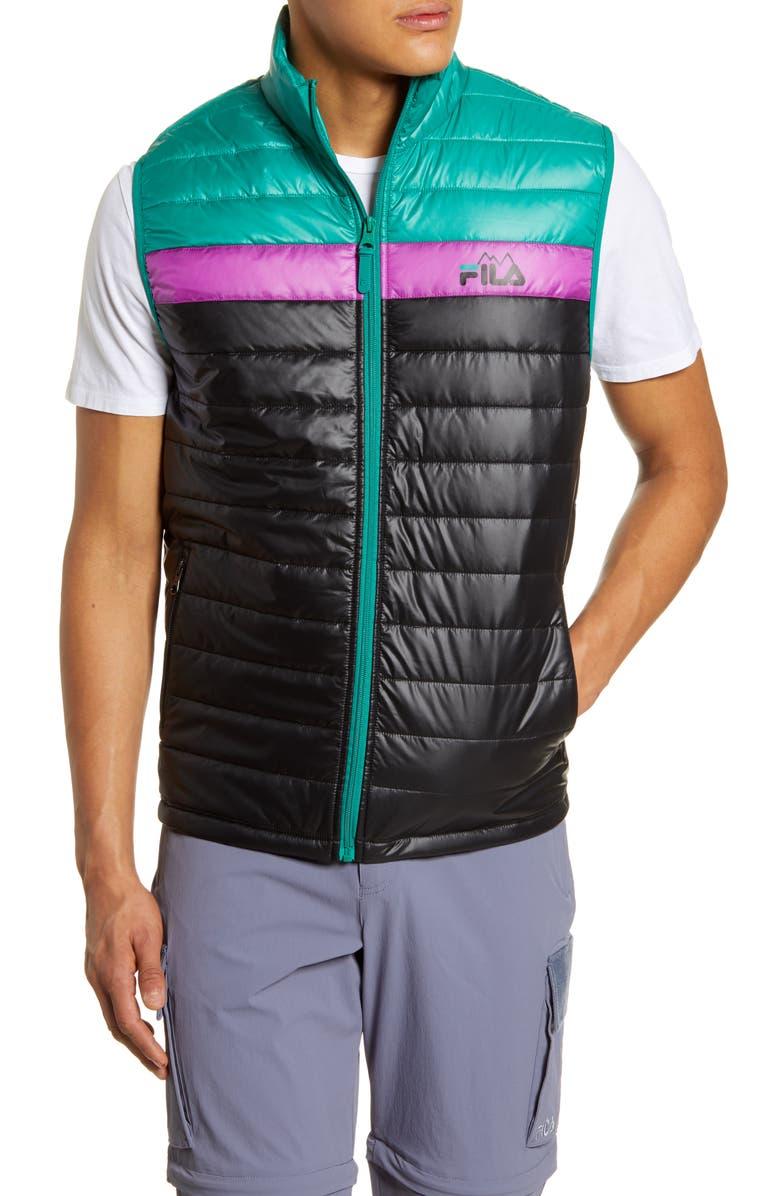 FILA Windshear Trail Puffer Vest, Main, color, BLACK/ GREEN LAKE