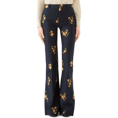 Gucci Camellia Fil Coupe Cotton & Wool Flare Pants, US / 44 IT - Blue