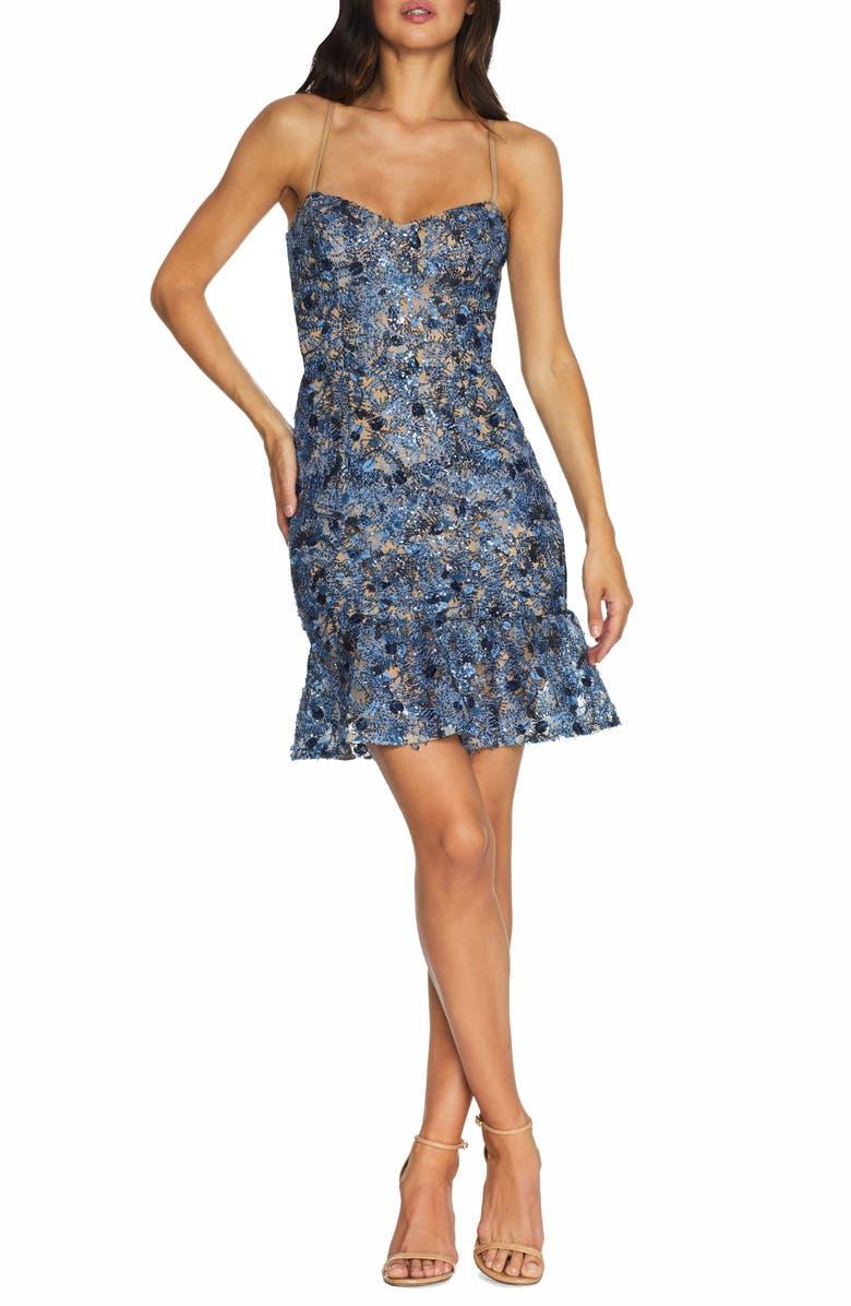 DRESS THE POPULATION Jill Sequin Floral Minidress, Main, color, MINERAL BLUE MULTI