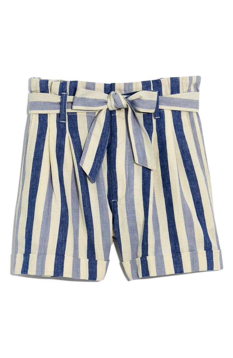 MADEWELL Stripe Paperbag Shorts, Main, color, 400