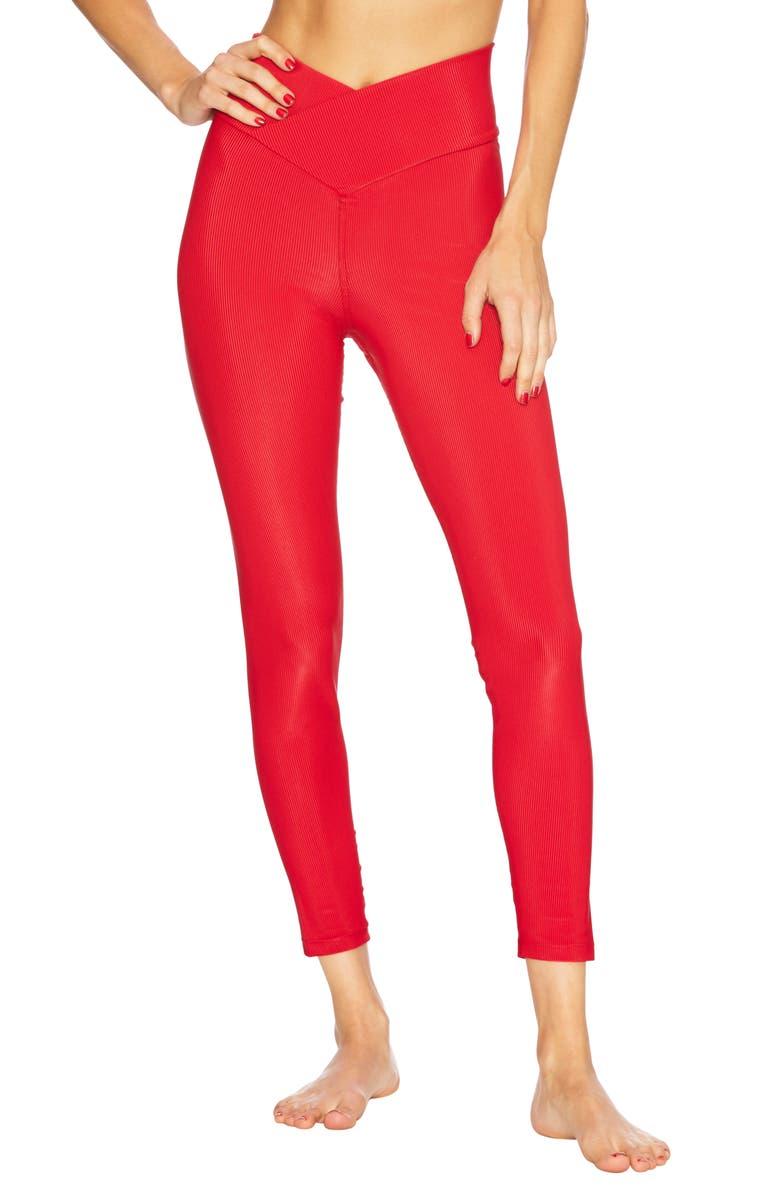BEACH RIOT High Waist Rib Leggings, Main, color, RED