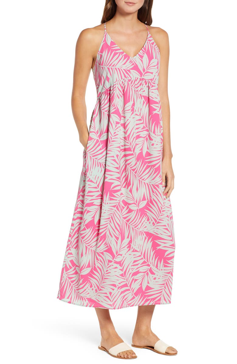 GIBSON x Hi Sugarplum! Palm Springs Festival Maxi Dress, Main, color, PINK/ GREEN FERN