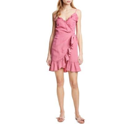Rebecca Taylor Ruffle Detail Cotton & Linen Dress, Pink