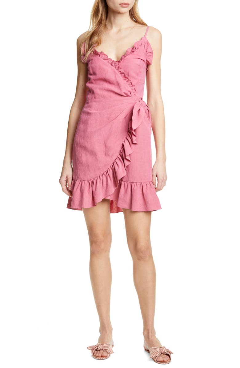 REBECCA TAYLOR Ruffle Detail Cotton & Linen Dress, Main, color, 690