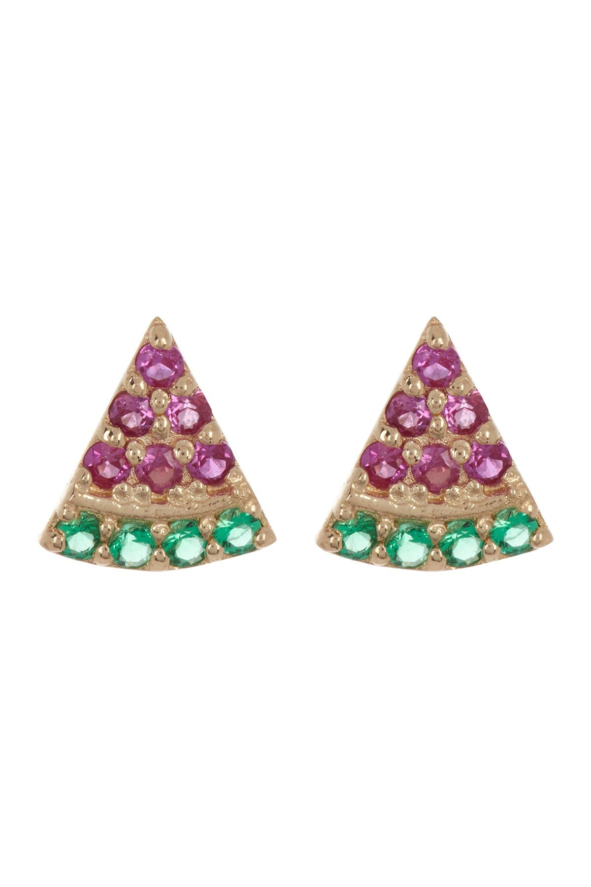 Image of Candela 10K Yellow Gold CZ Watermelon Stud Earrings
