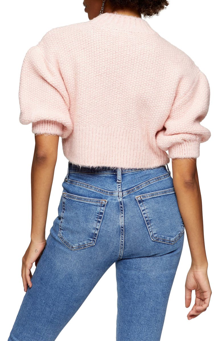 TOPSHOP Crop Balloon Sleeve Sweater, Alternate, color, PINK