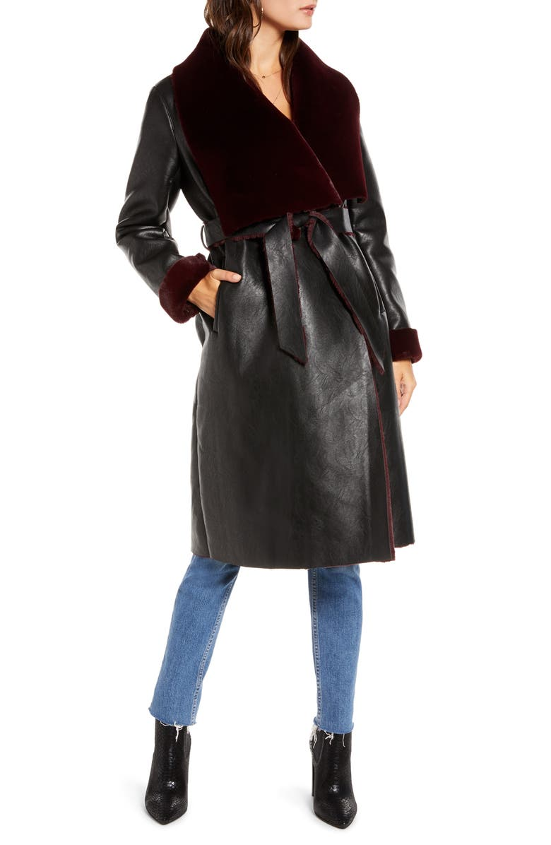 BLANKNYC Faux Shearling Belted Coat, Main, color, NEVER SAY NEVER