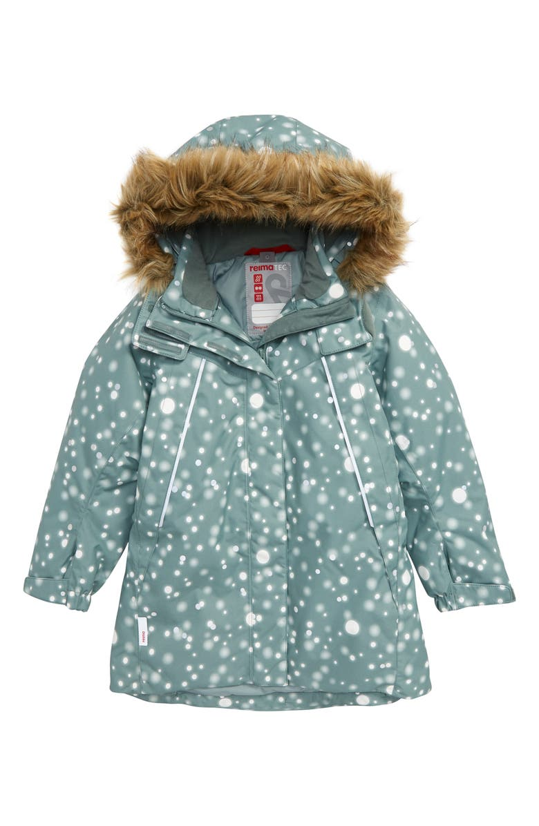 REIMA Silda Reimatec<sup>®</sup> Reflective Water and Windproof Jacket with Faux Fur Trim Hood, Main, color, GREEN