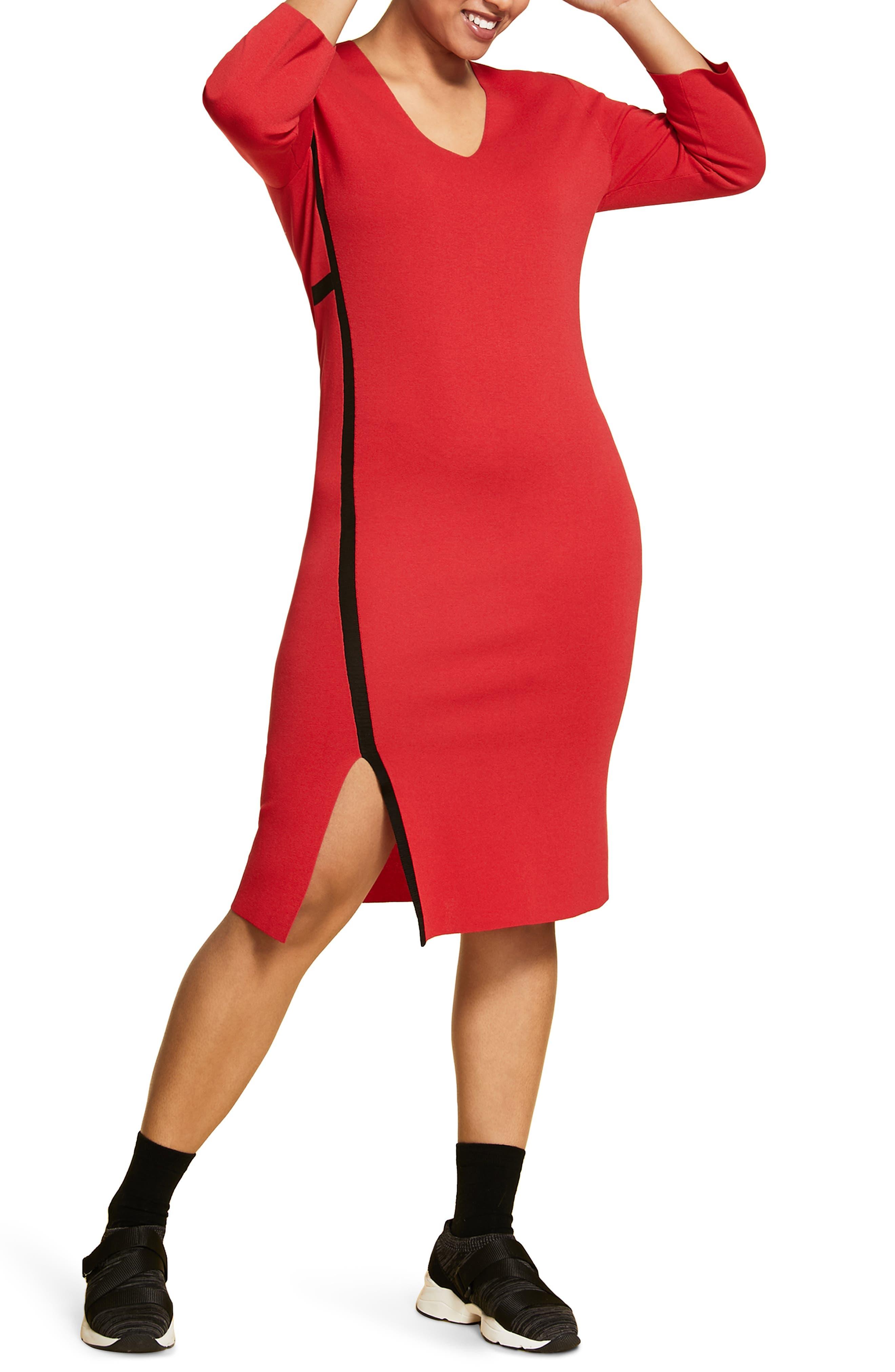 Plus Size Marina Rinaldi Giove Long Sleeve Sweater Dress, Red
