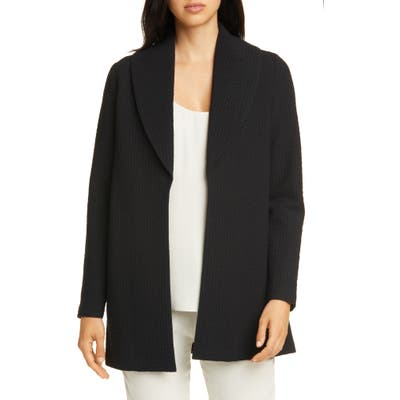 Petite Eileen Fisher Shawl Collar Jacket, Black