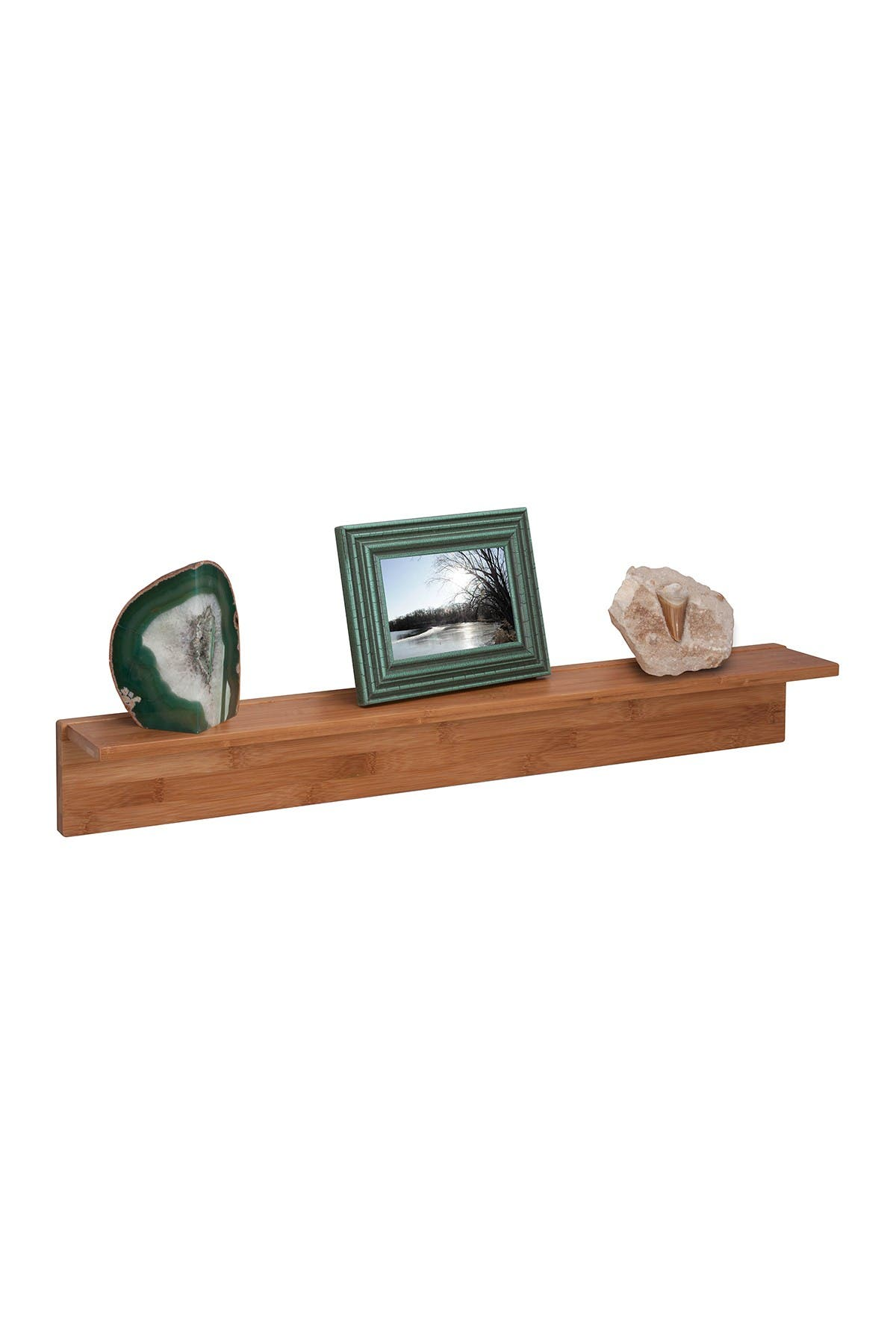 Image of Honey-Can-Do Natural Bamboo L Shaped Wall Shelf