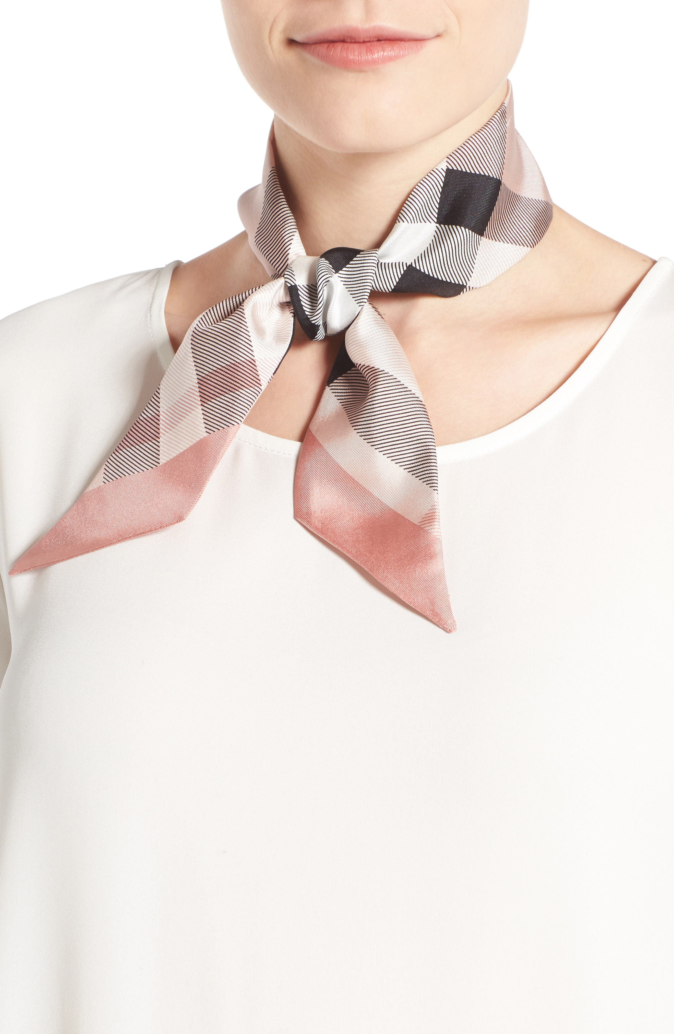 ,                             Exploded Check Mulberry Silk Shortie Scarf,                             Main thumbnail 10, color,                             652