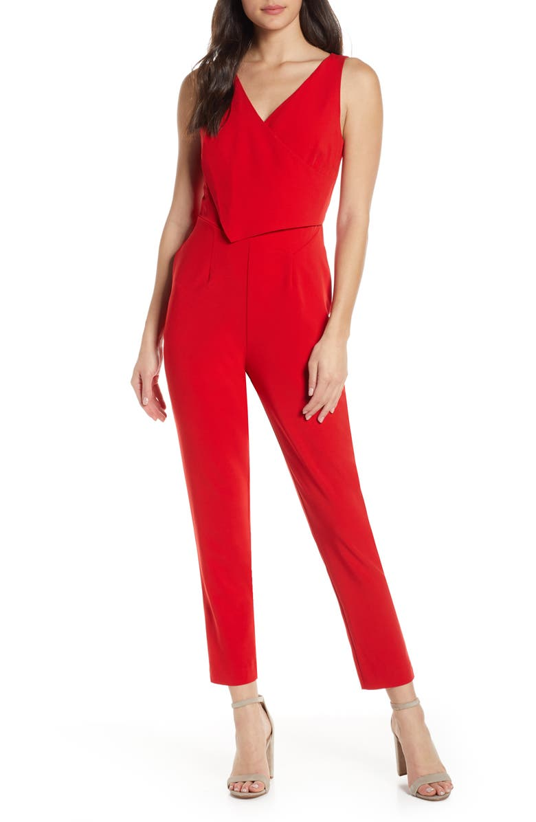 ALI & JAY Sleeveless Slim Leg Asymmetrical Jumpsuit, Main, color, SCARLET
