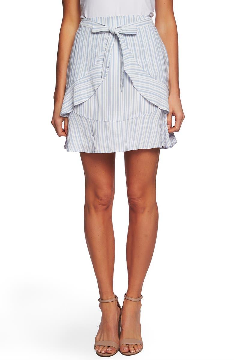CECE Jacquard Stripe Ruffle Skirt, Main, color, 400