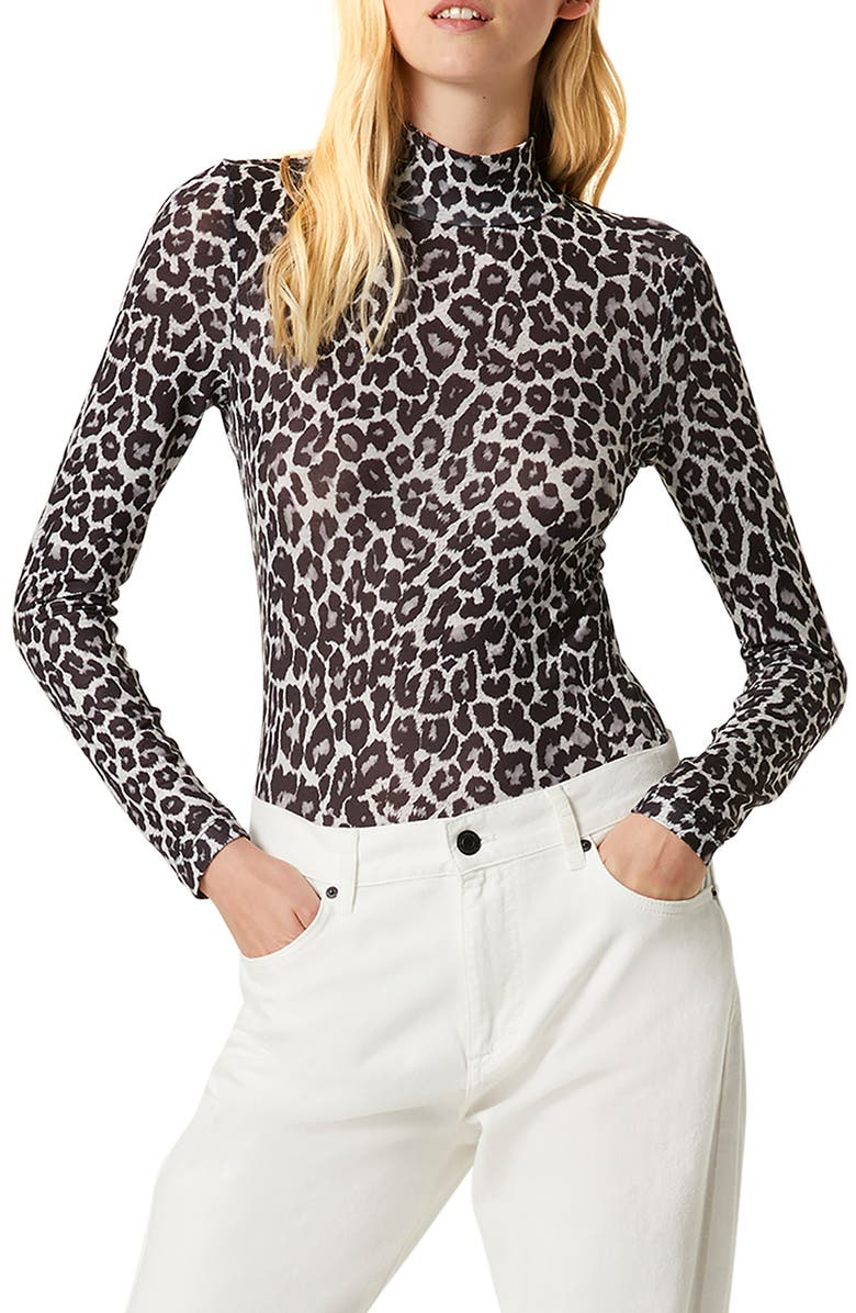 FRENCH CONNECTION Animal Print Mock Neck Top, Main, color, GREY LEOPARD