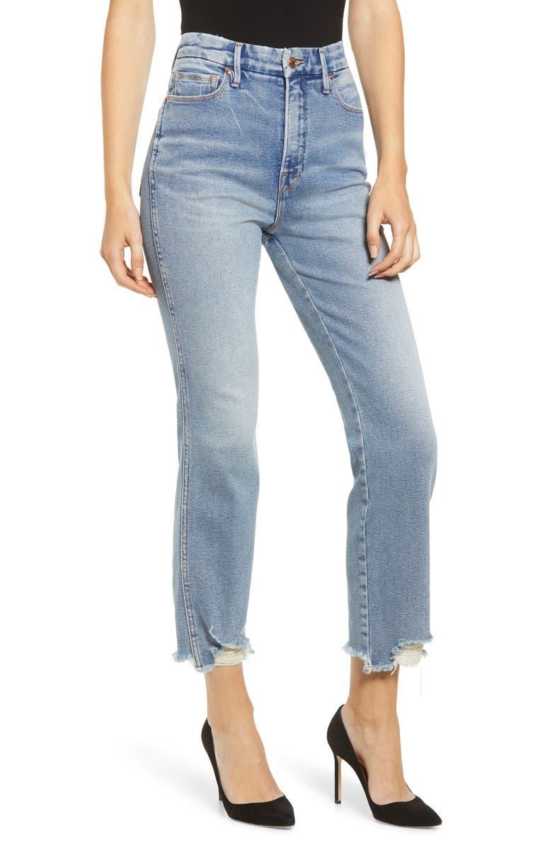 GOOD AMERICAN Good Curve High Waist Fray Hem Straight Leg Jeans, Main, color, BLUE313