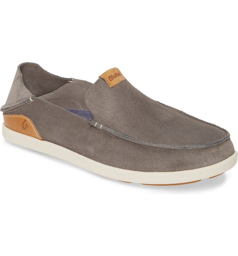 OLUKAI Nalukai Kala Slip-On, Main, color, FOG/ BONE LEATHER