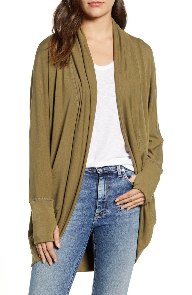 CASLON<SUP>®</SUP> Off-Duty Drapey Knit Open Cardigan, Main, color, GREEN LICHEN