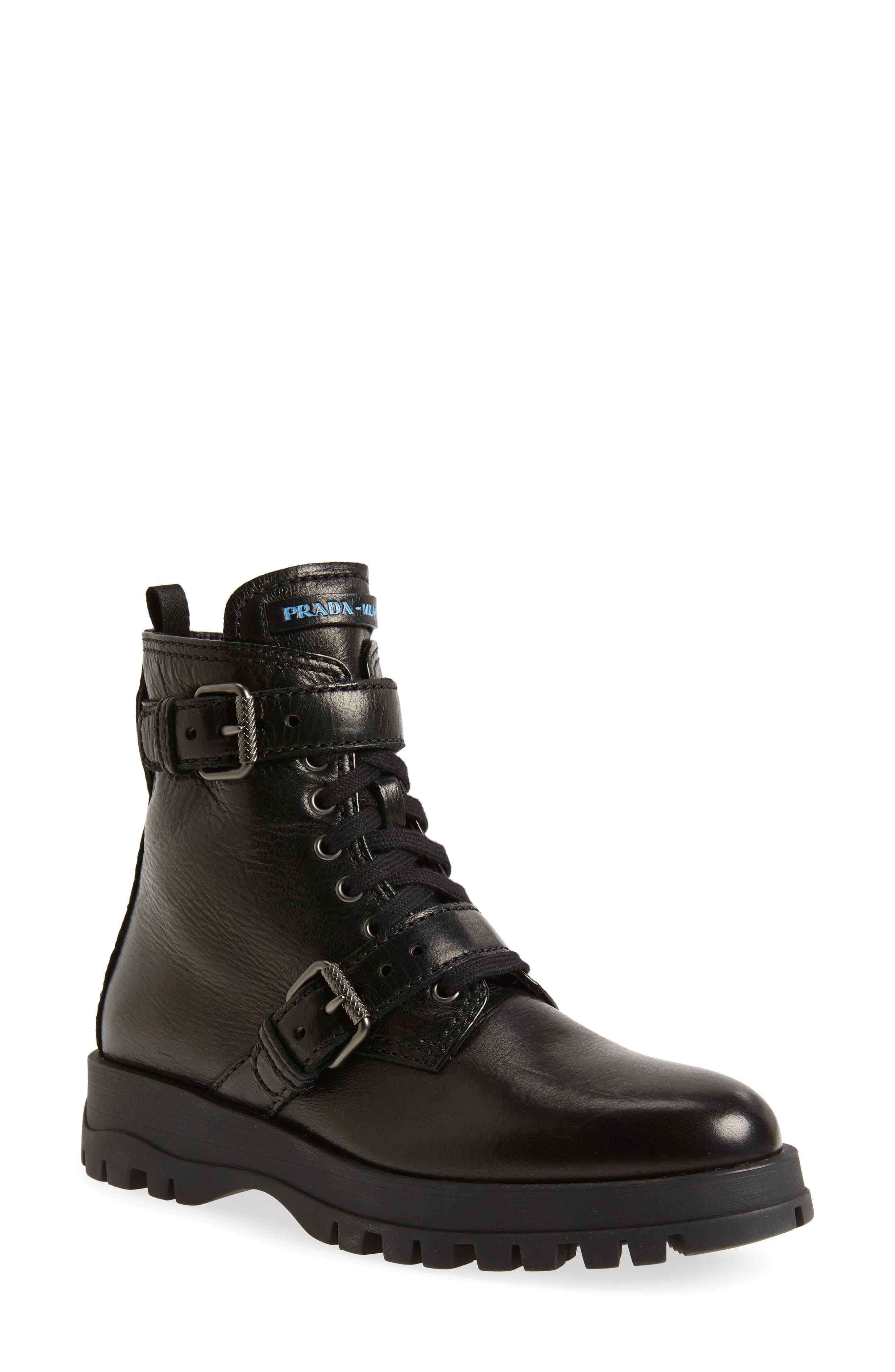 Prada Buckle Combat Boot (Women
