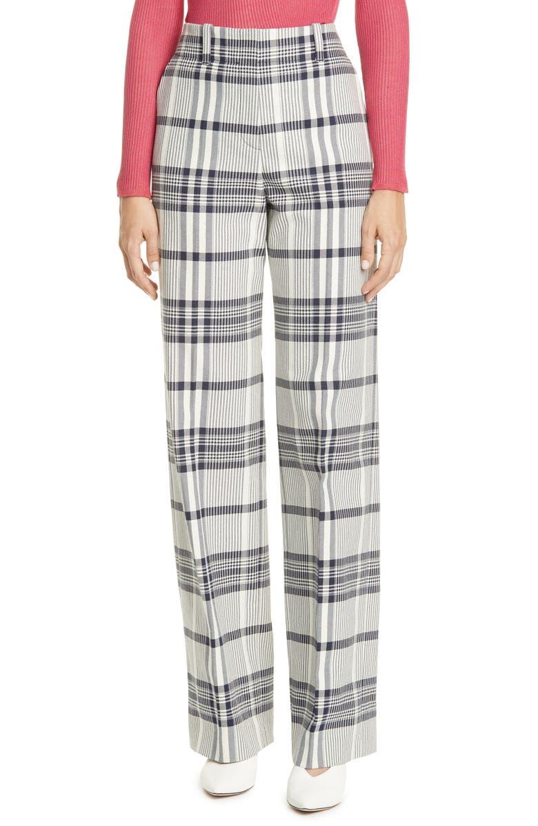 HUGO Overlay Check Pants, Main, color, CLEAN NAVY CHECK