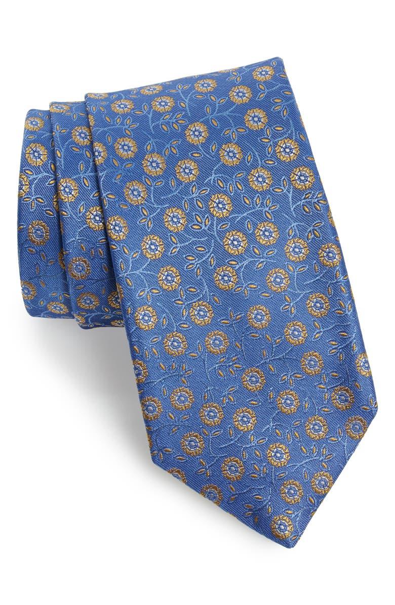 CANALI Floral Silk Tie, Main, color, BLUE