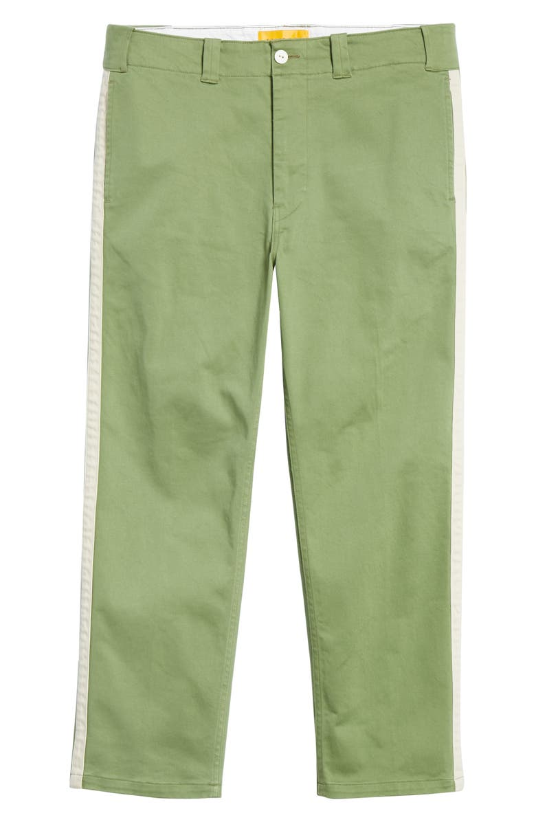 UNION LOS ANGELES Cropped Baseball Pants, Main, color, OLIVE GREEN / OFF-WHITE
