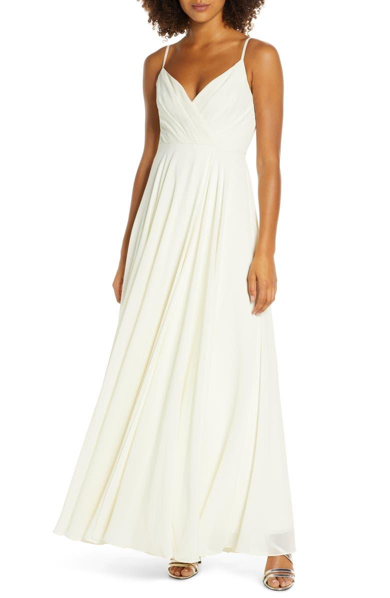 LULUS Surplice Chiffon Gown, Main, color, CREAM