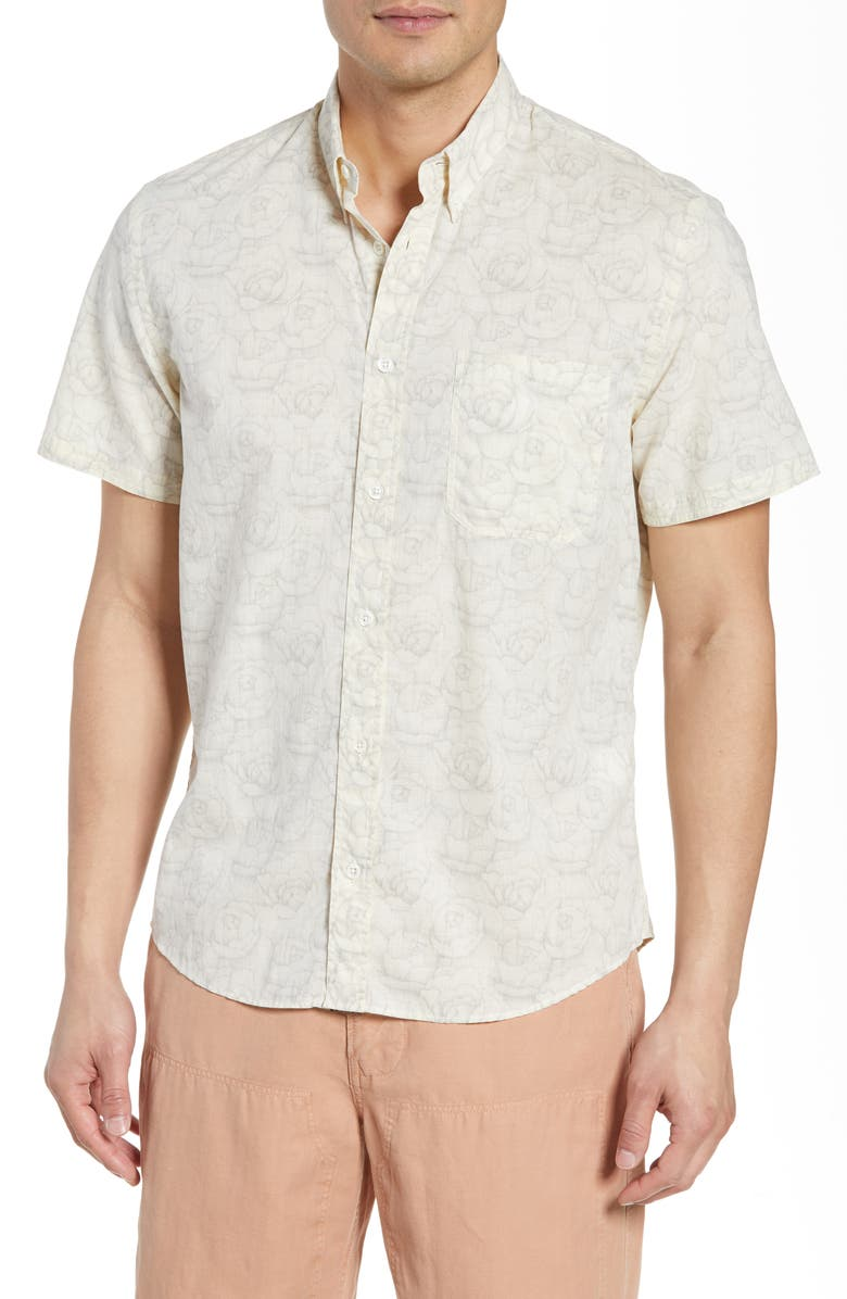 Billy Reid Floral Tuscumbia Slim Fit Short Sleeve Shirt