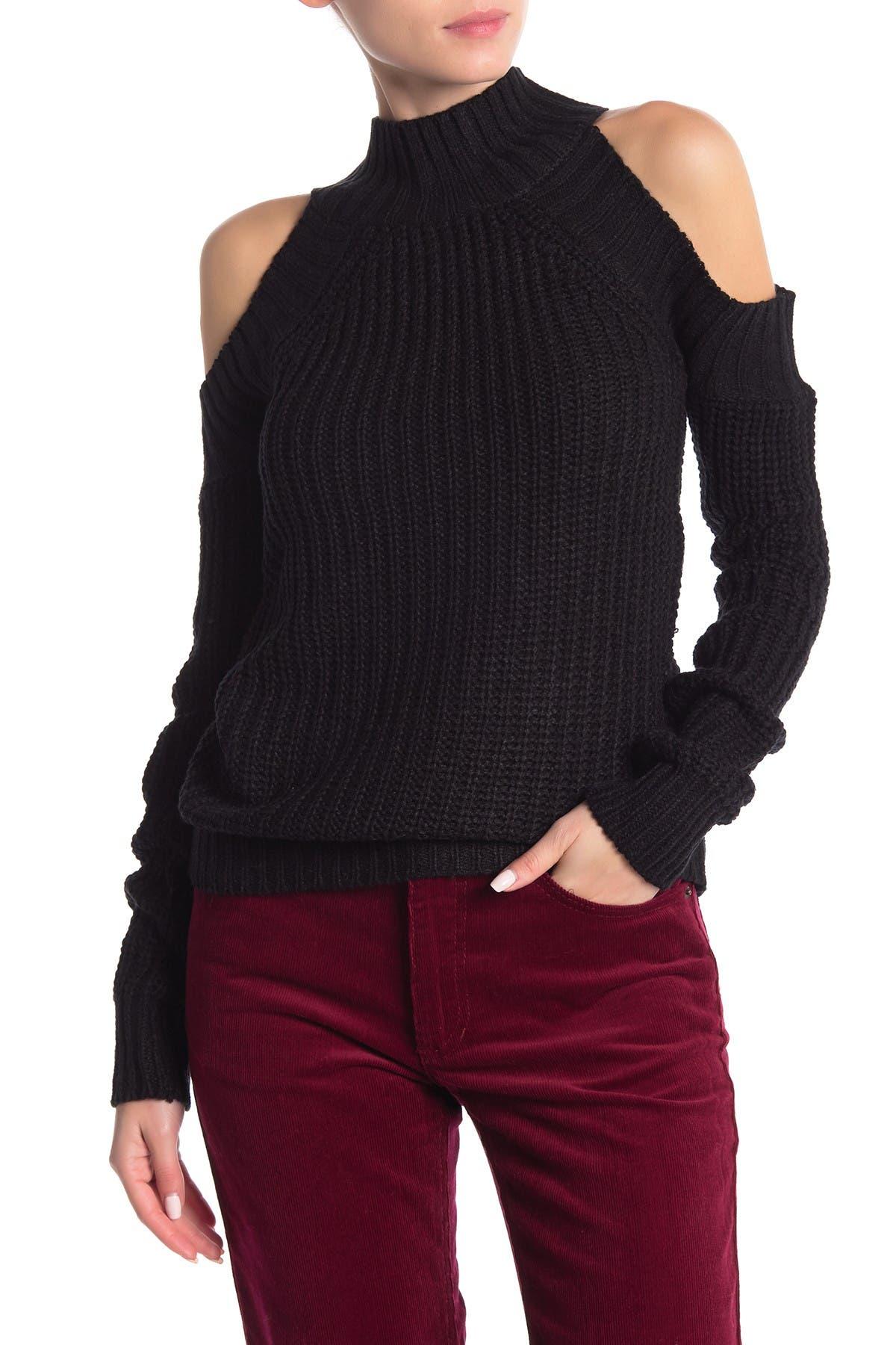 Image of Poof Cold Shoulder Mock Neck Knit Sweater