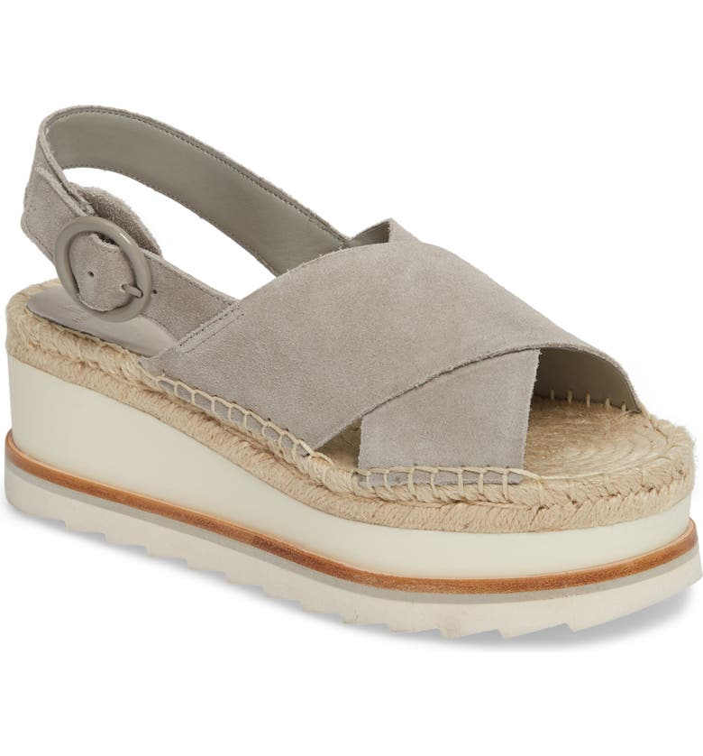 MARC FISHER LTD Glenna Platform Slingback Sandal, Main, color, GREY SUEDE